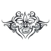 Tribal Orchid Lower Back Temporary Tattoo