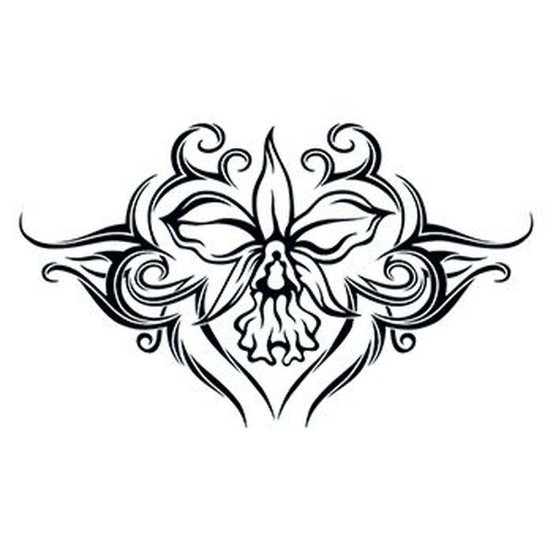 Tribal Orchid Lower Back Temporary Tattoo image number null