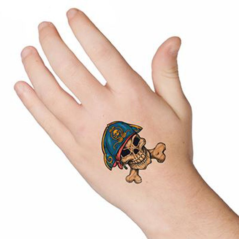 Pirate Skull and Crossbones Temporary Tattoo image number null