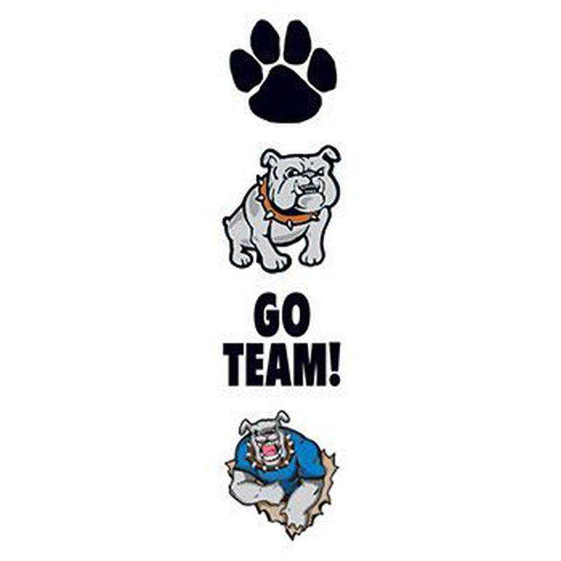 Bulldog Team Mascot Temporary Tattoo Set image number null