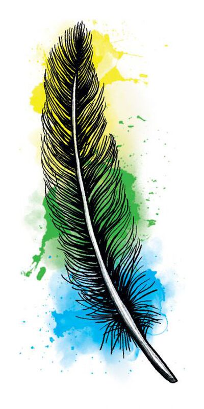 Watercolor Feather Temporary Tattoo image number null