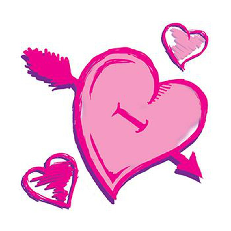 Pink Valentines Hearts Temporary Tattoo image number null
