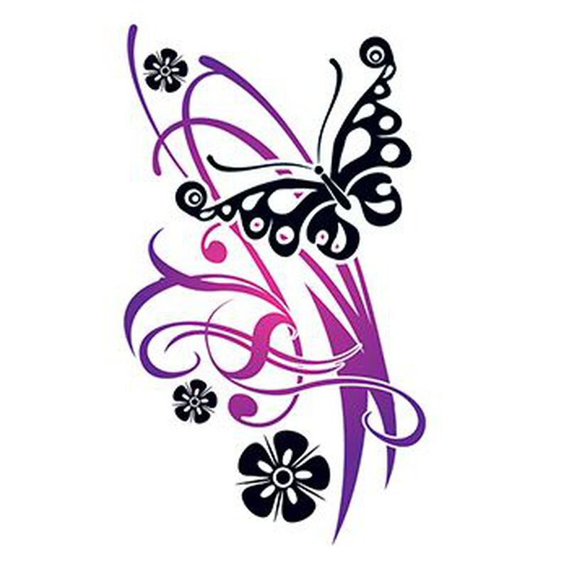 Flirty Butterfly with Flowers Temporary Tattoo image number null