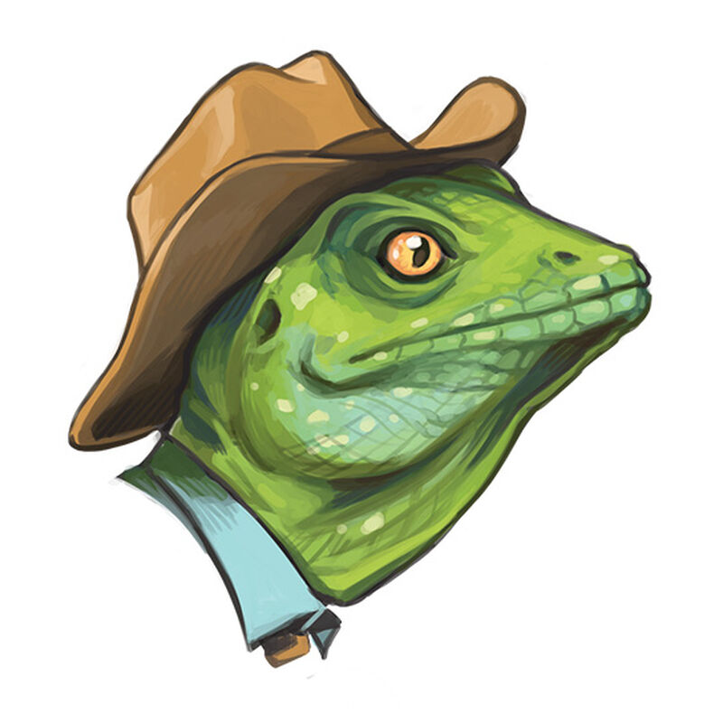 Cowboy Lizard Temporary Tattoo image number null