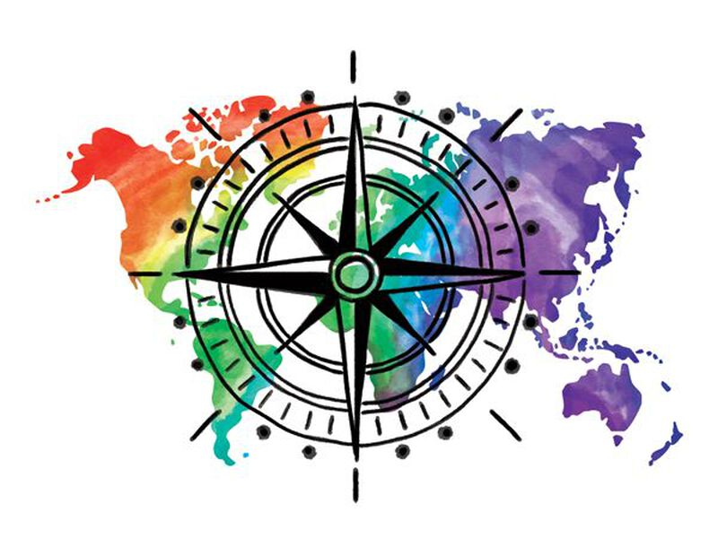 Watercolor World Compass Temporary Tattoo image number null