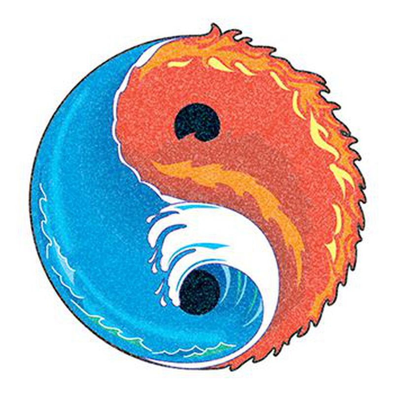 Glitter Water and Fire Yin Yang Temporary Tattoo image number null