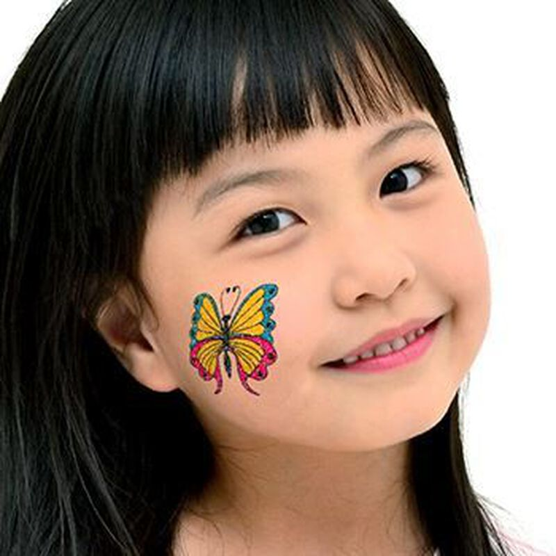 Blue, Yellow & Pink Glitter Butterfly Temporary Tattoo image number null