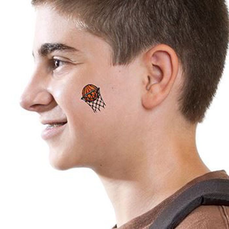 Small Basketball in Hoop Temporary Tattoo image number null