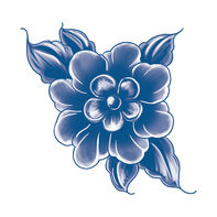 Classic Blue Flower Temporary Tattoo