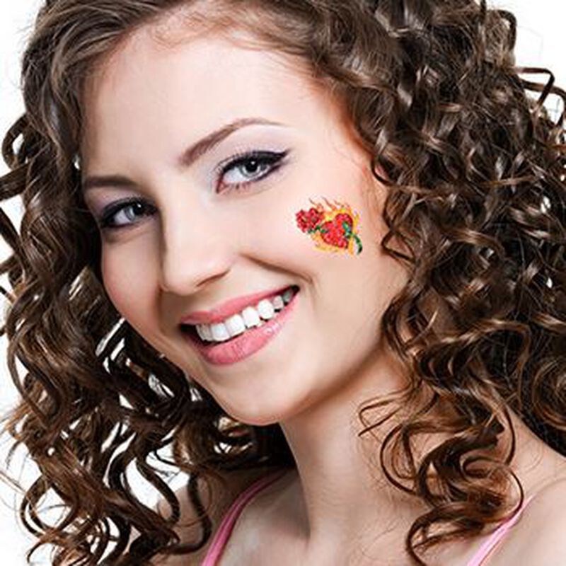 Glitter Flaming Heart and Rose Temporary Tattoo image number null