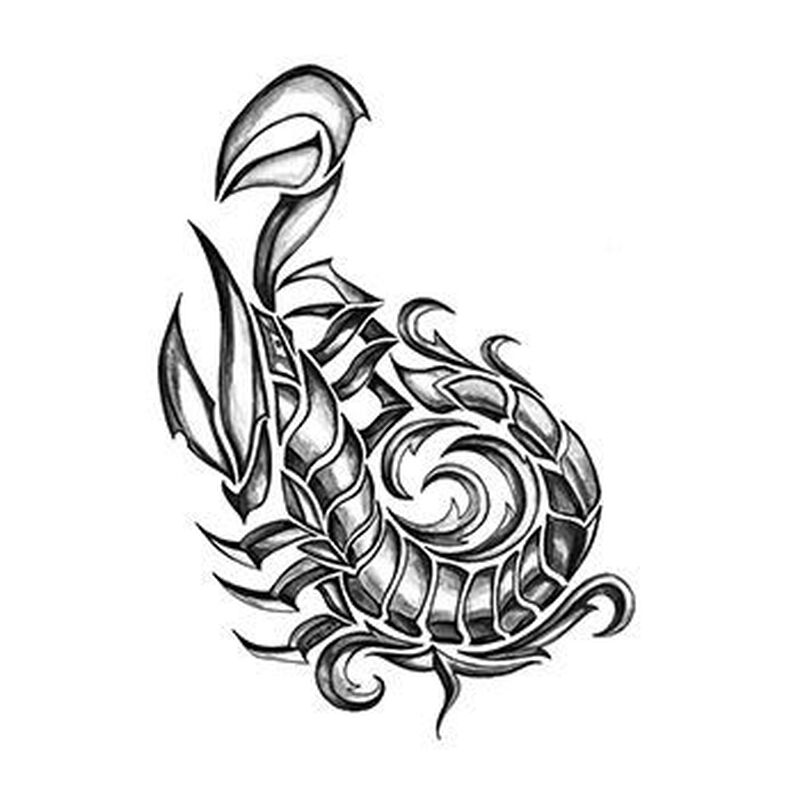 Iron Tribal Scorpion Temporary Tattoo image number null