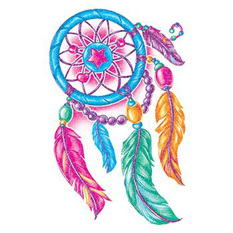 Glitter Multicolored Dream Catcher Temporary Tattoo image number null