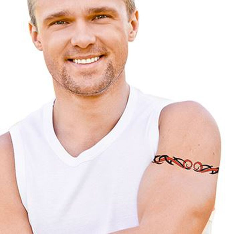 Red & Black Tribal Armband Temporary Tattoo image number null