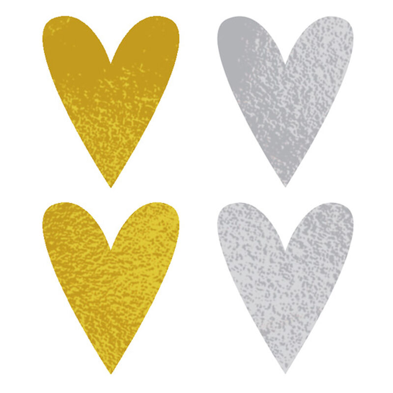 Gold and Silver Hearts Temporary Tattoo image number null