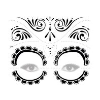 Day of the Dead Black and White Temporary Tattoo