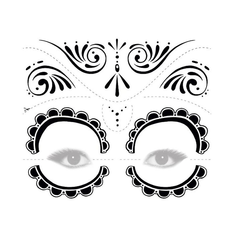 Day of the Dead Black and White Temporary Tattoo image number null