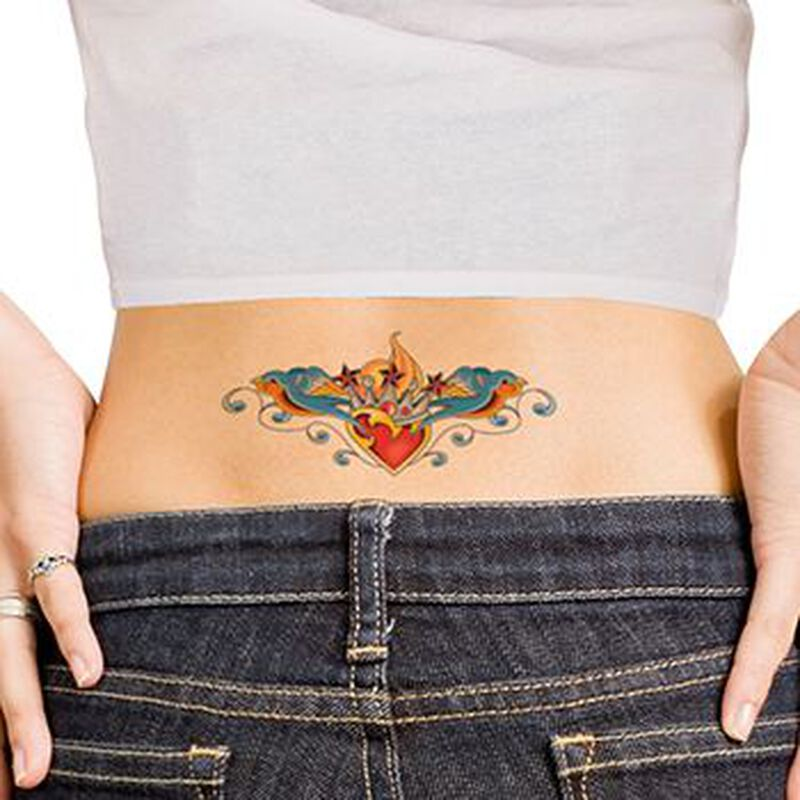 Crowned Heart with Sparrows Lower Back Temporary Tattoo image number null