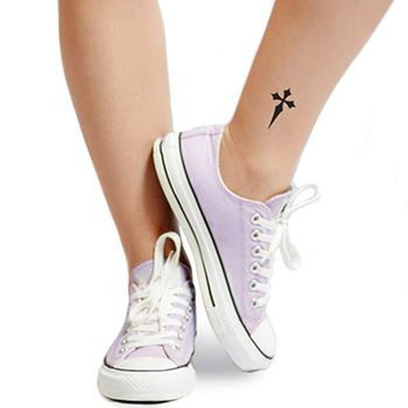 Pointy Black Cross Temporary Tattoo image number null