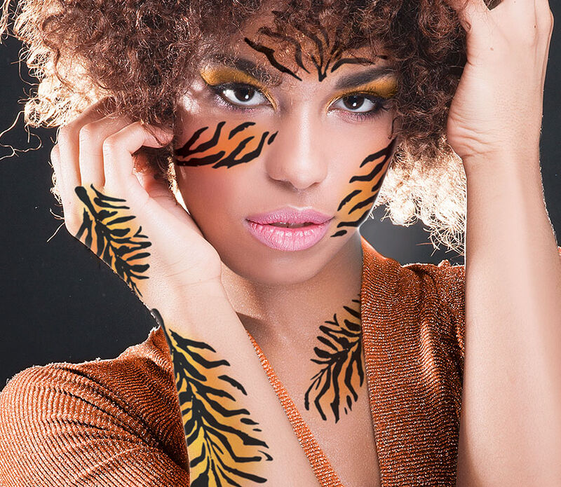Tiger Animal Print Temporary Tattoo image number null