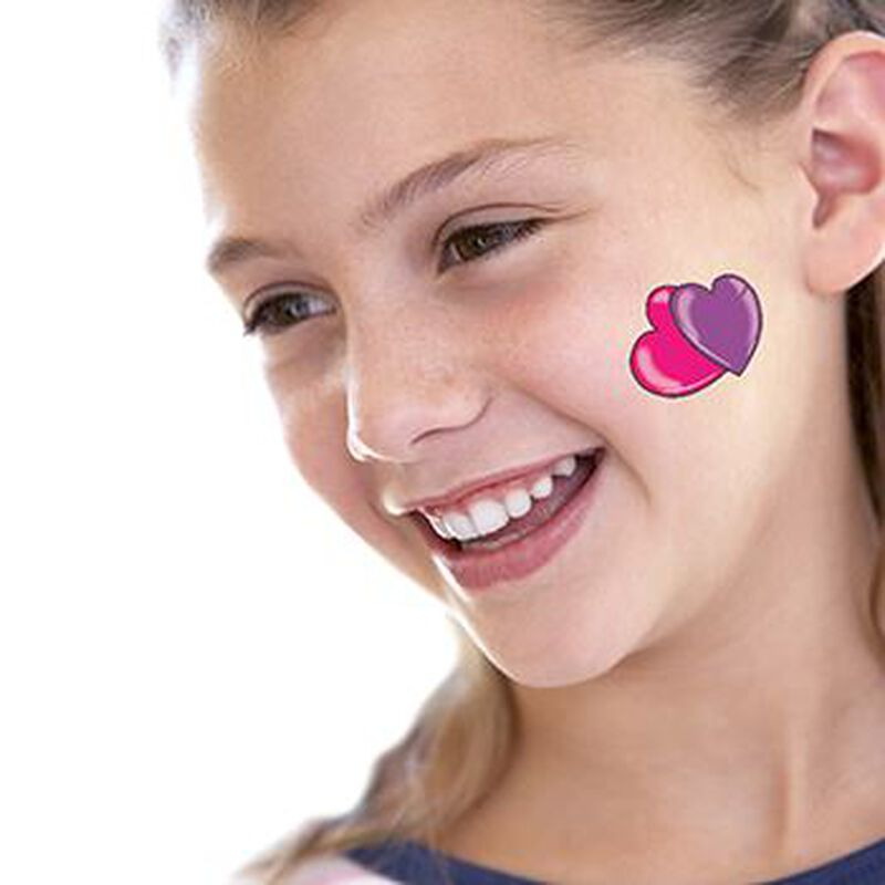 Pink and Purple Hearts Temporary Tattoo image number null