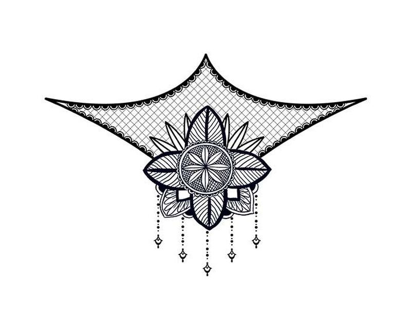 Lace Floral Sternum Bikini Temporary Tattoo image number null