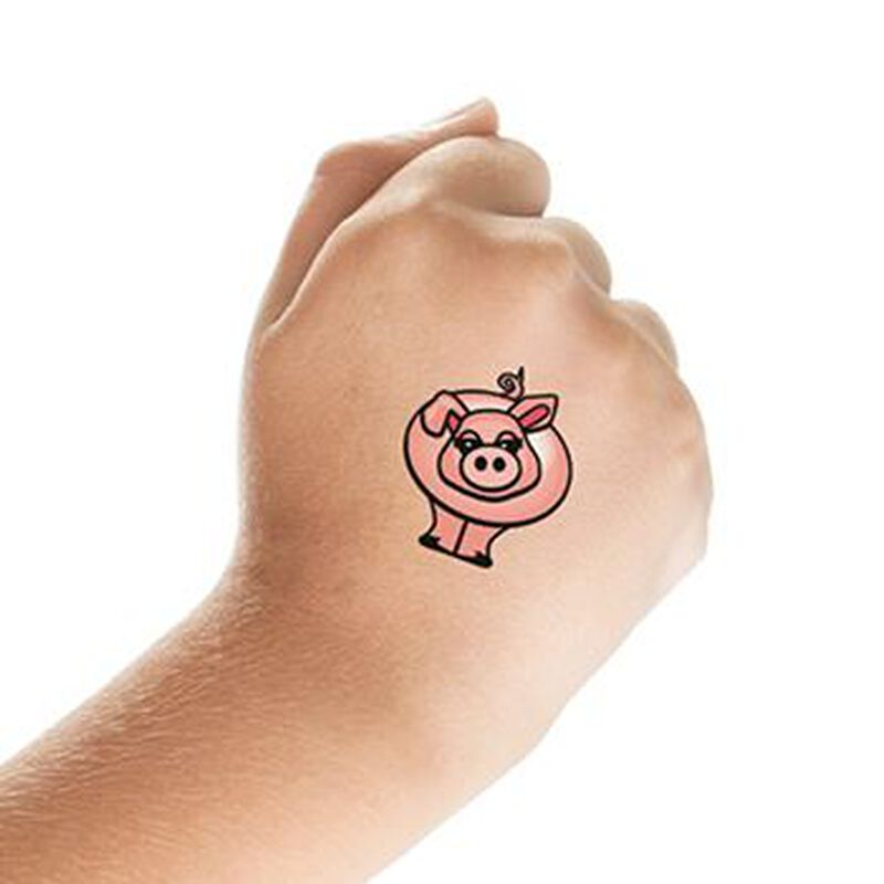 Pink Pig Temporary Tattoo image number null