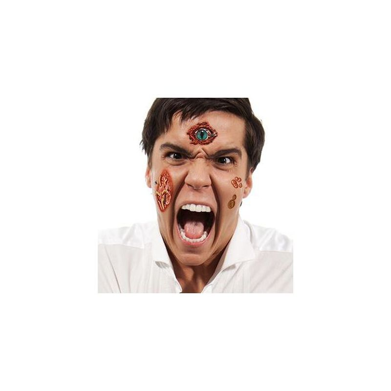 Gory Eyeball and Maggots Temporary Tattoo image number null