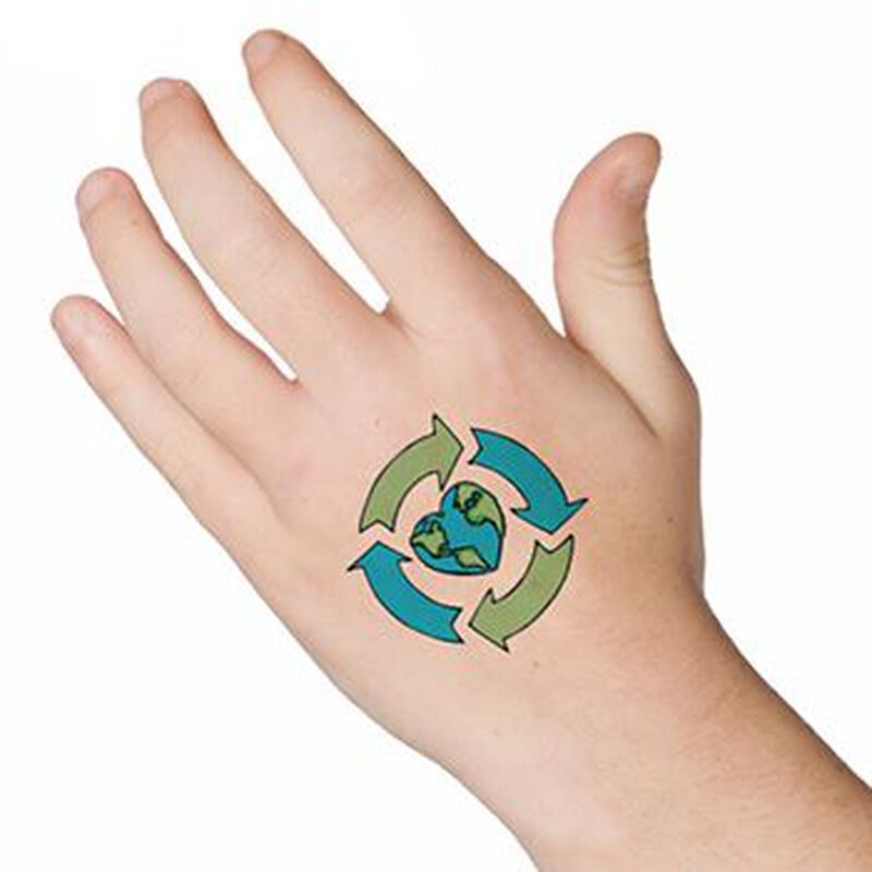 Recycle Earth Heart Temporary Tattoo image number null