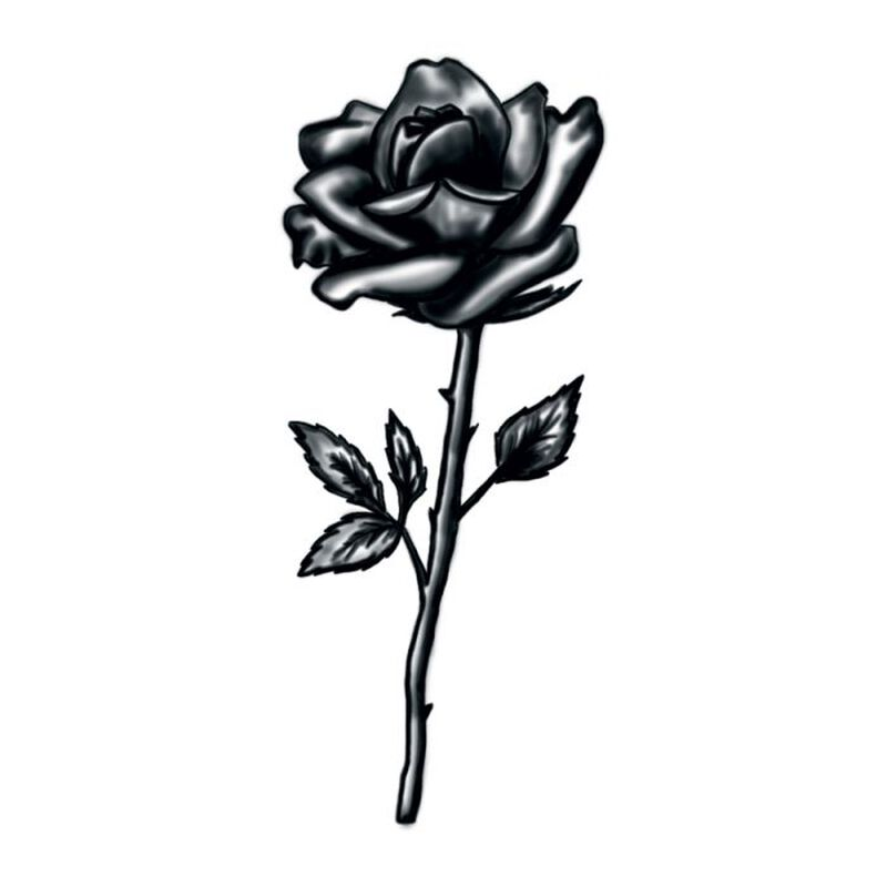 Black and White Rose Stem Temporary Tattoo image number null