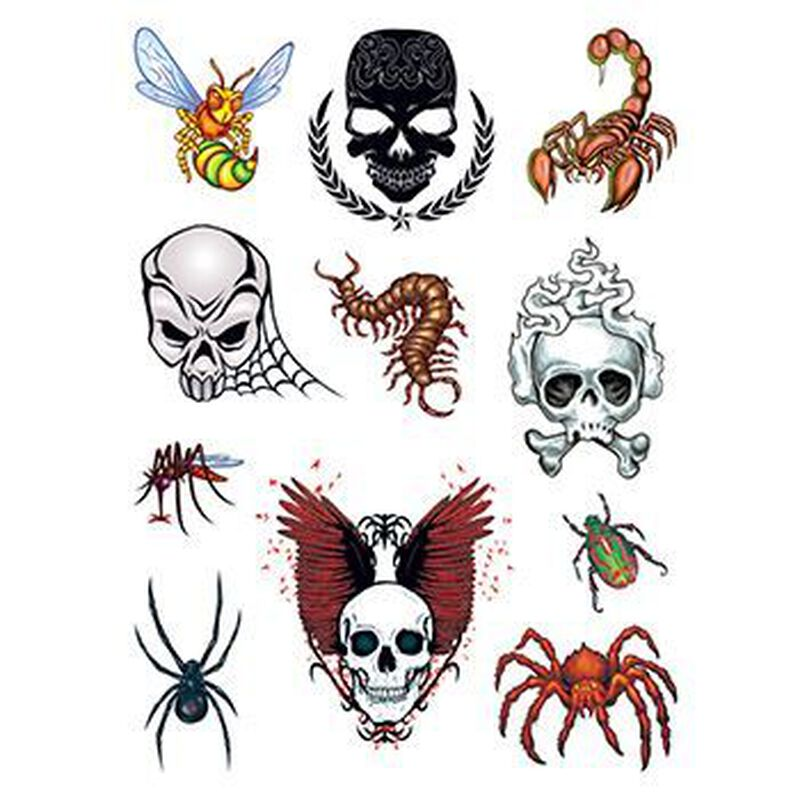 Skulls and Bugs Set of Temporary Tattoos image number null