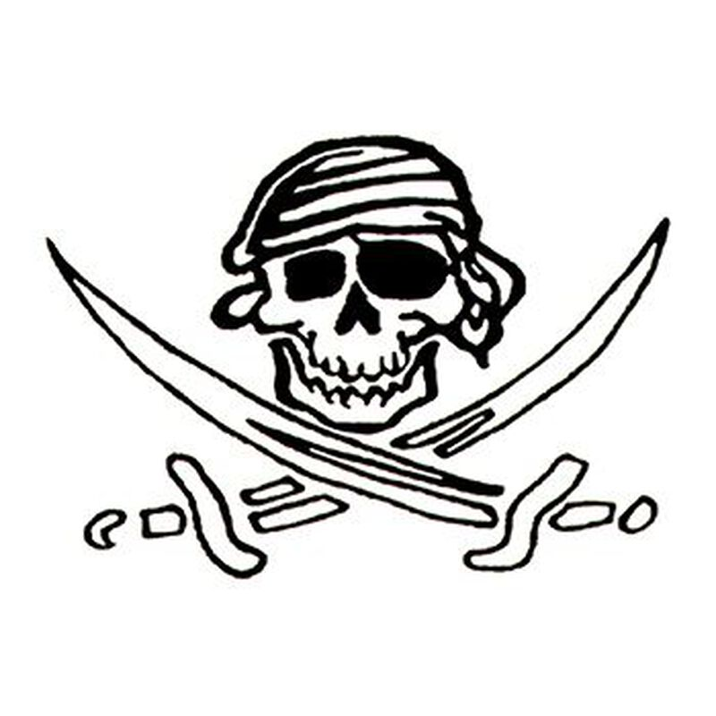 Glow in the Dark Skull and Swords Temporary Tattoo image number null