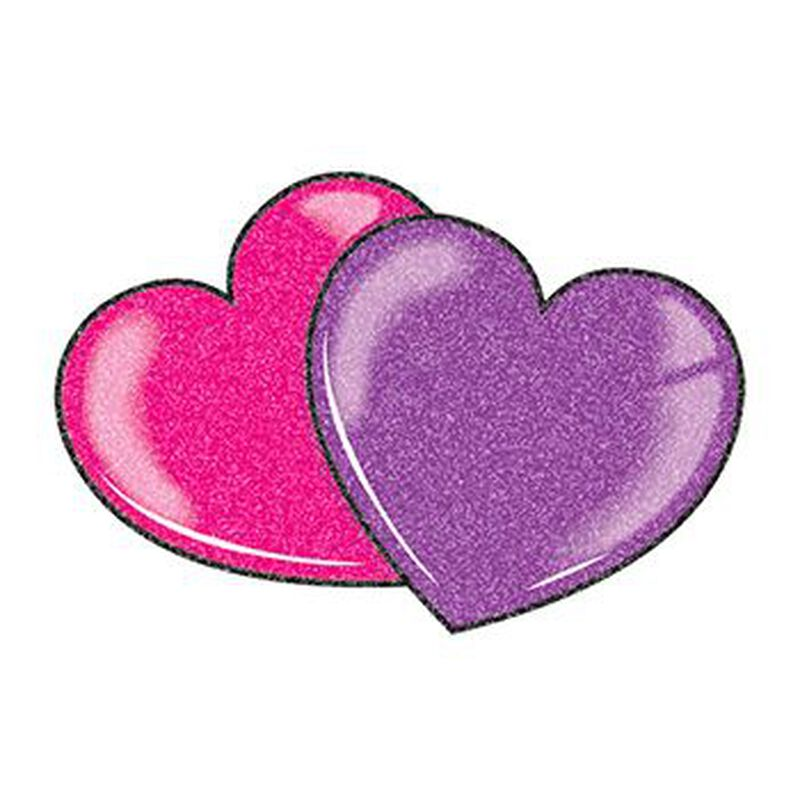 Glitter Red and Purple Hearts Temporary Tattoo image number null