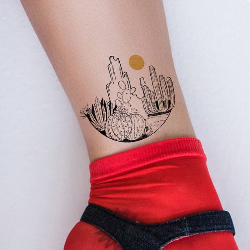 Desert Earth and Sky Temporary Tattoo image number null