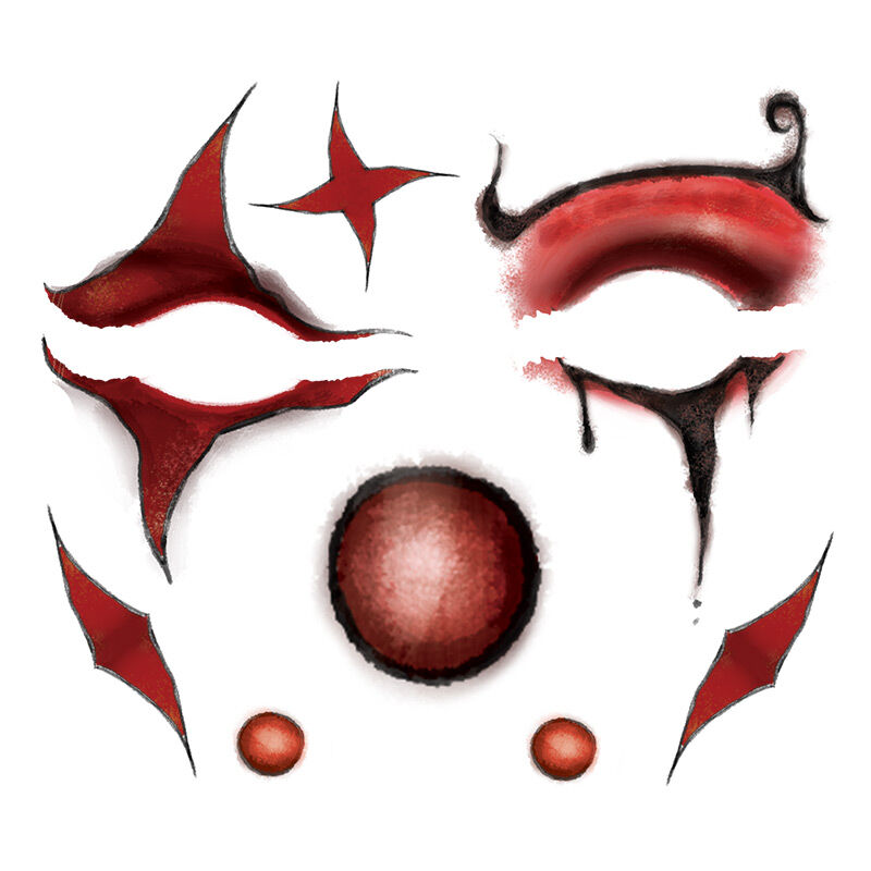 Red Scary Clown Eyes Costume Tattoo image number null