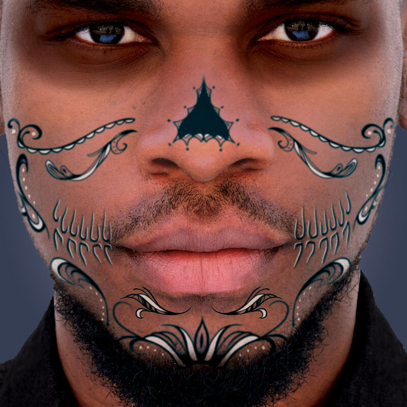 Black & White Lace Sugar Skull Mouth Costume Tattoo image number null