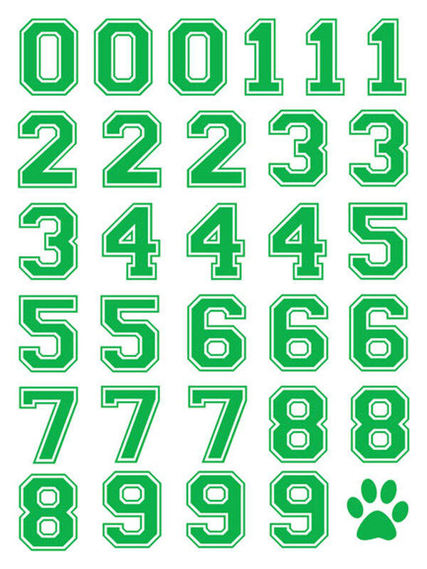 Green Sports Numbering Temporary Tattoos image number null