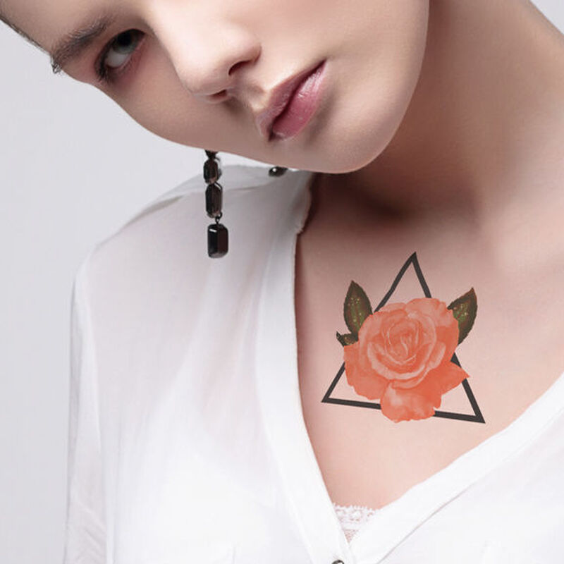 Coral Rose With Triangle Temporary Tattoo image number null