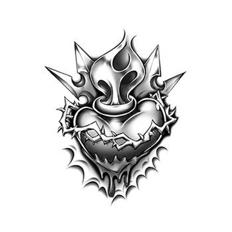 Urban Heart with Flames Temporary Tattoo image number null