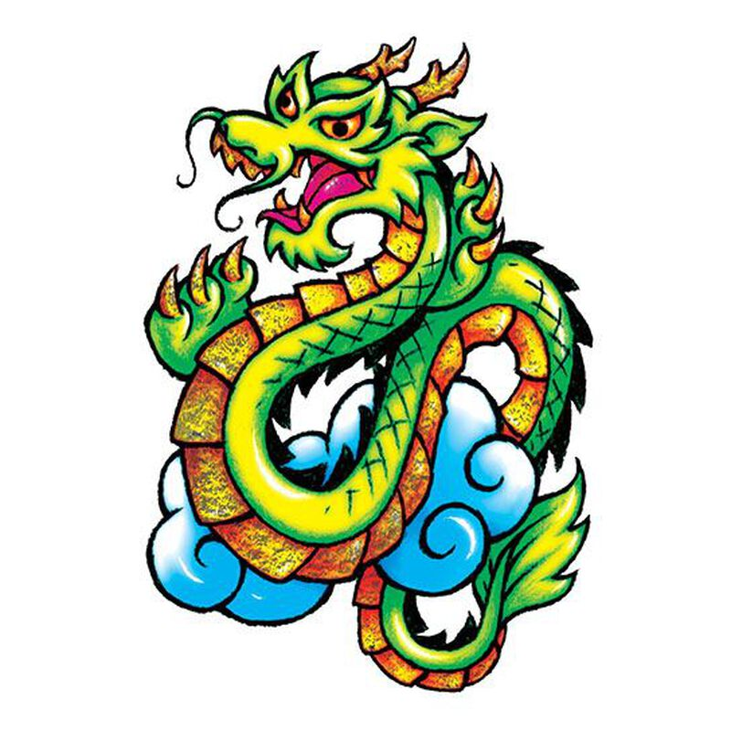 Metallic Classic Dragon Temporary Tattoo image number null