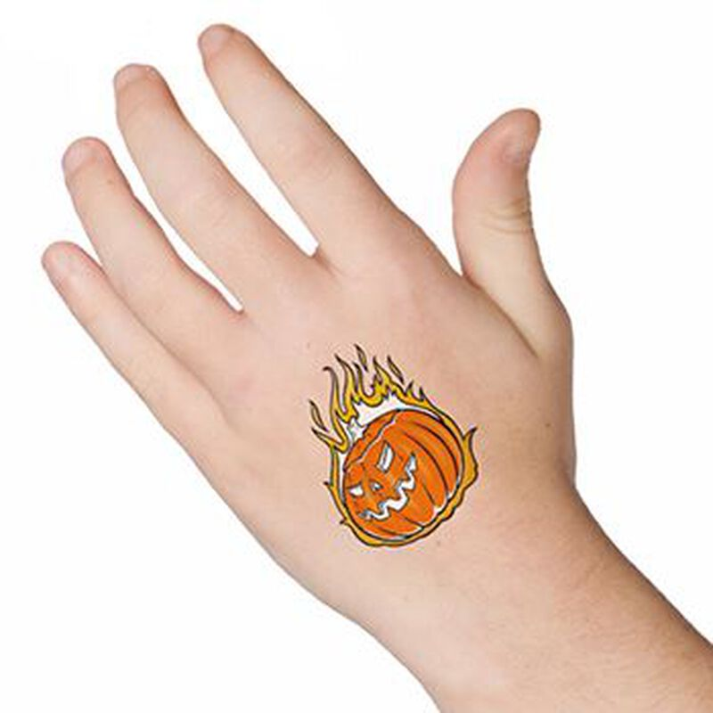 Glow in the Dark Flaming Pumpkin Temporary Tattoo image number null