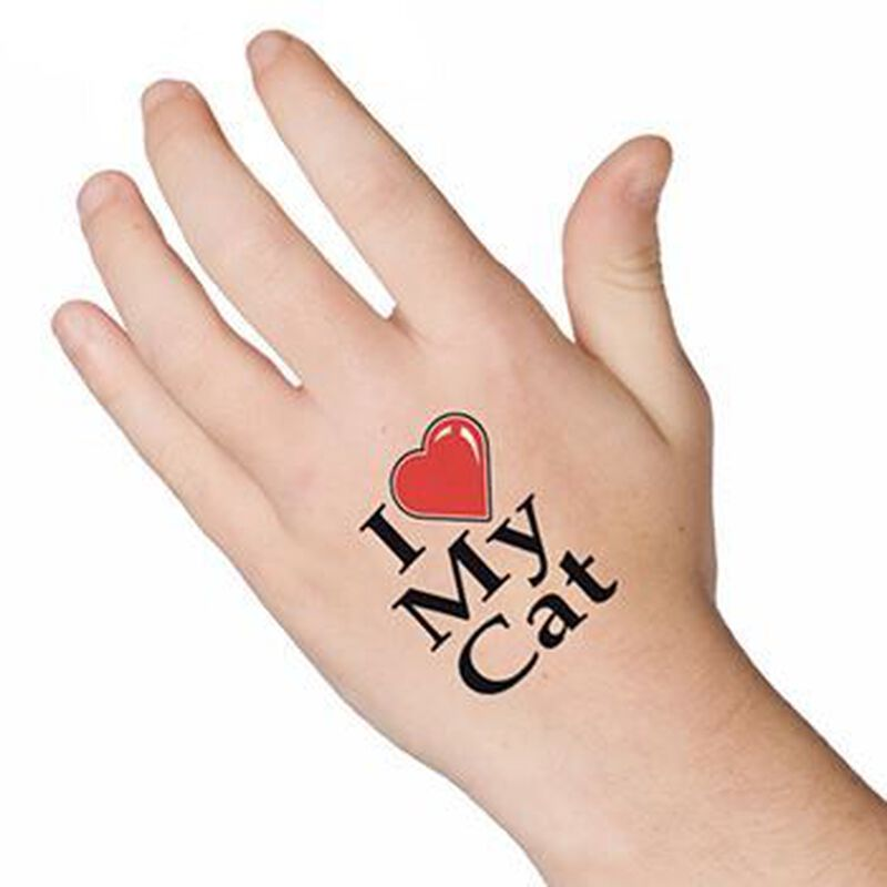 I Heart My Cat Temporary Tattoo image number null