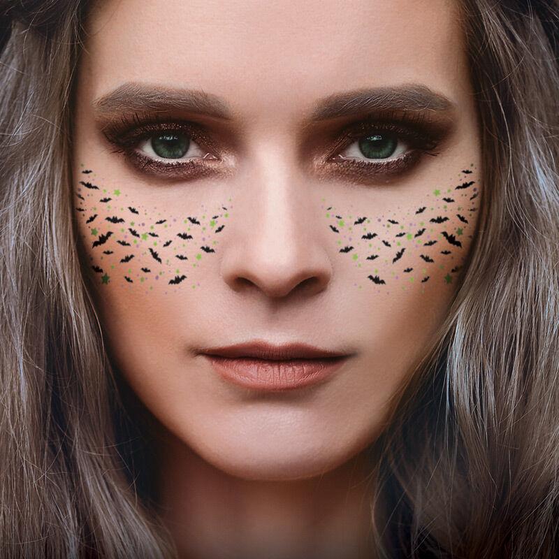 Bats & Spider Freckle Face Costume Tattoo image number null