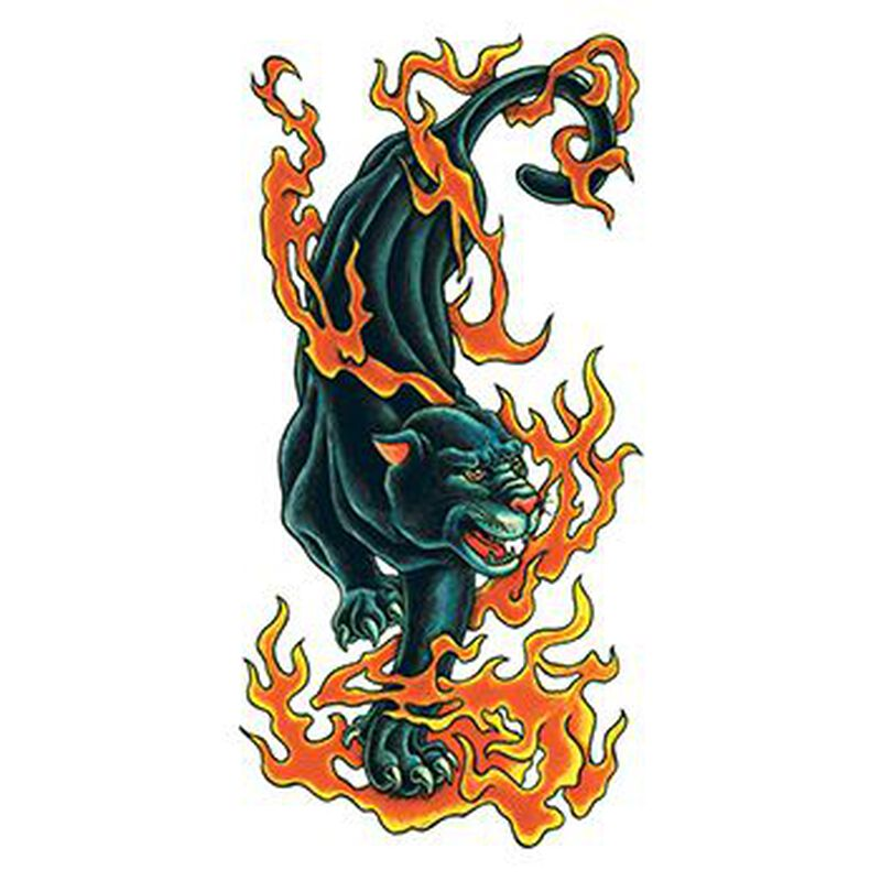 Traditional Flaming Panther Temporary Tattoo image number null