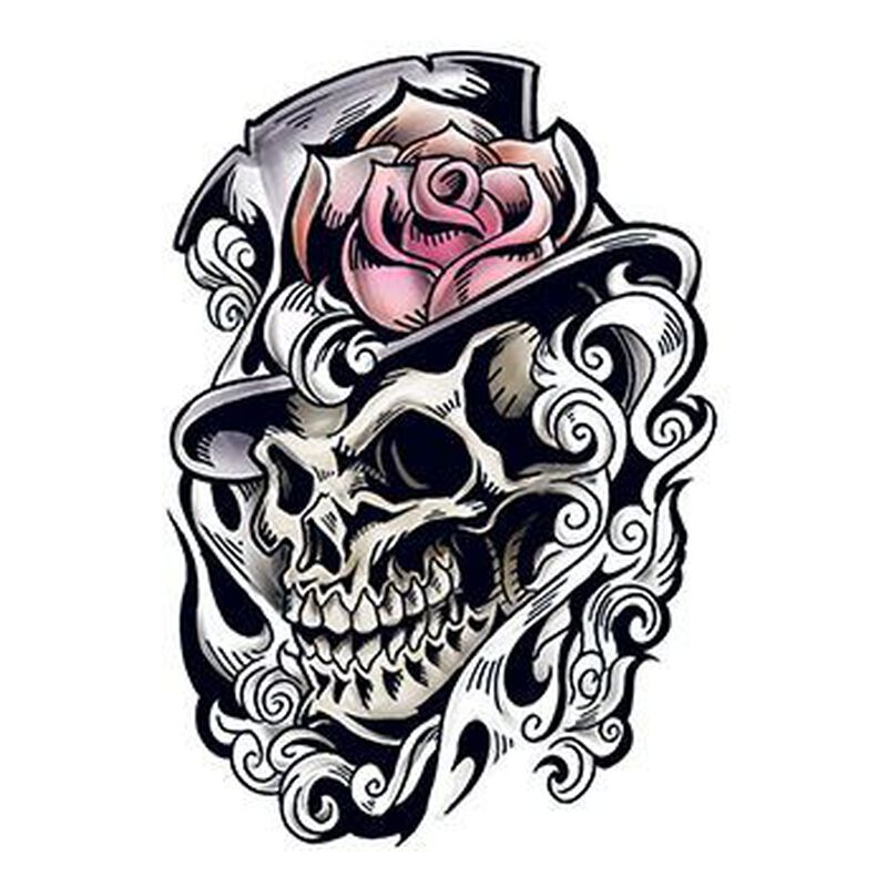 Skull with Top Hat Temporary Tattoo image number null