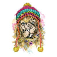 Hipster Watercolor Lion Temporary Tattoo