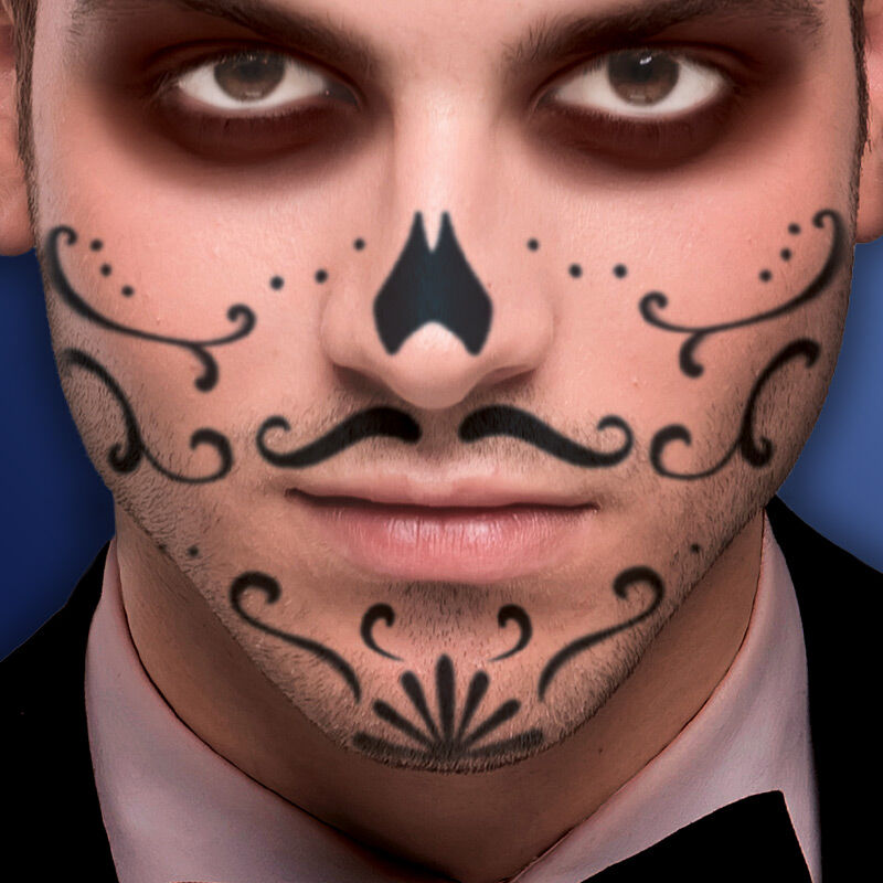 Spiderweb Mustache Sugar Skull Mouth Costume Tattoo image number null