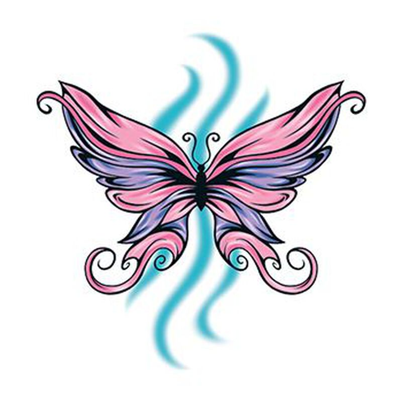 Pink and Purple Butterfly Temporary Tattoo image number null