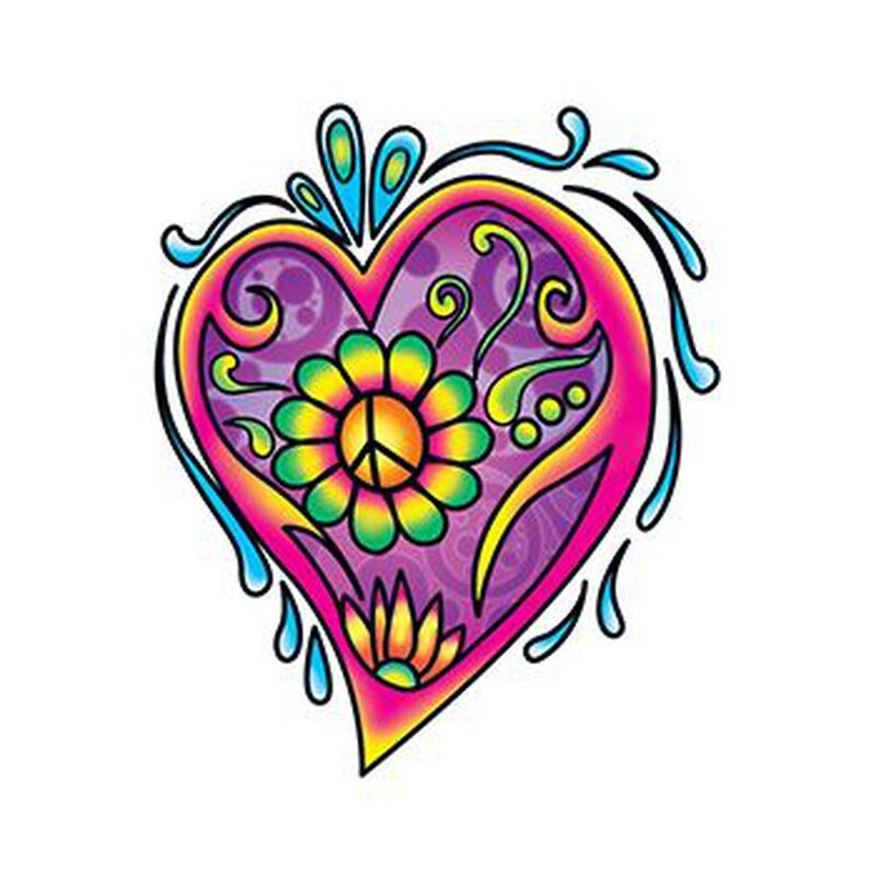 Hippie Heart Temporary Tattoo image number null