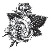 Gray Rose Temporary Tattoo
