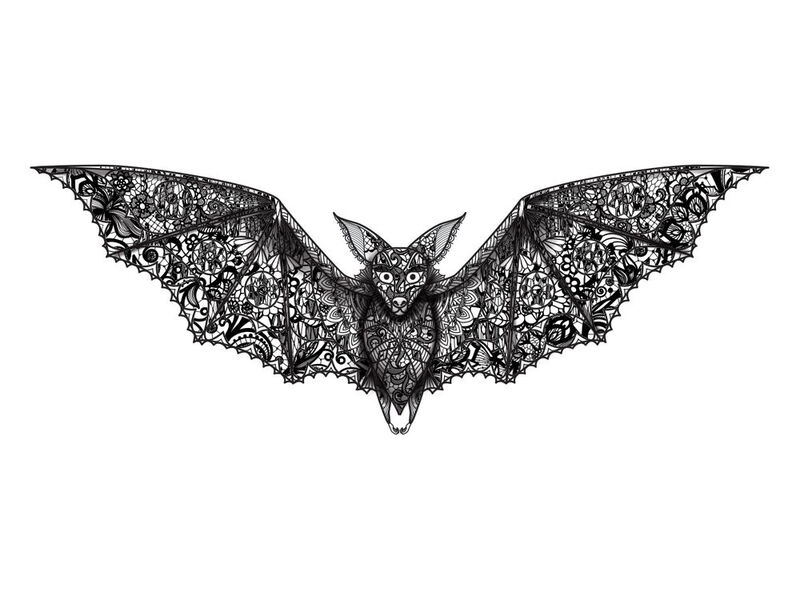 Lace Bat Temporary Tattoo image number null